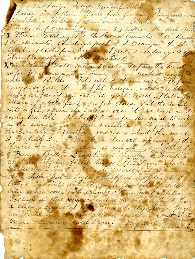 The page from Jennie Martin's cookbook that includes the Brown Betty recipe.