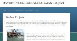 Website for Environmental Studies research projects.http://libraries.davidson.edu/uln/student-projects/