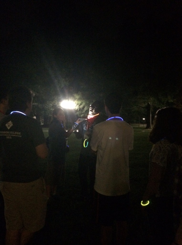 The Ghost of Old Chambers comes alive when our Orientation Leader got the classic spooky story treatment of a flashlight under the chin - or in this case, an iPhone flashlight.