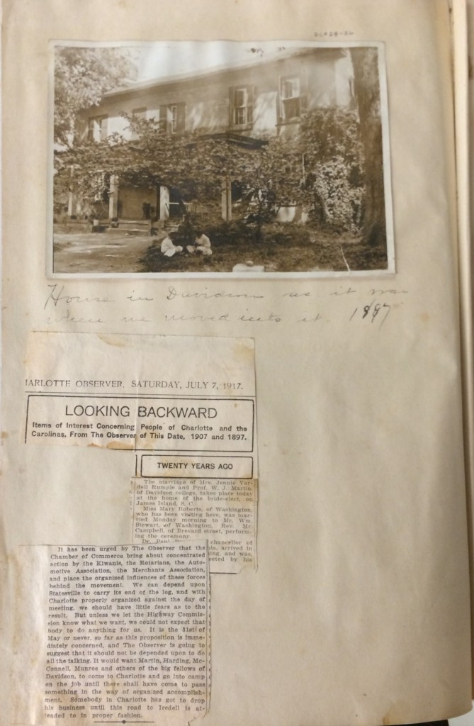 A page from Jennie Martin's scrapbook, including an image of two of the Martin children on the lawn of the Davidson College President's House, and a newspaper clipping celebrating the Martins' twentieth wedding anniversary.