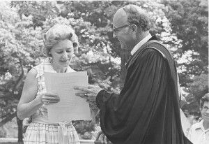 Will Terry with Nancy Blackwell at commencement 1976