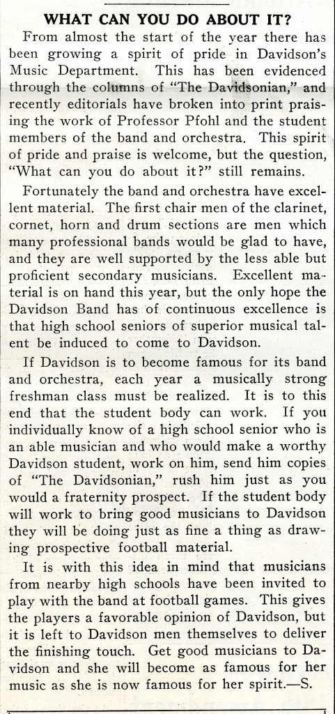"""What Can You Do About It?"" ran in The Davidsonian early in Phofl's tenure at Davidson - November 15, 1933."