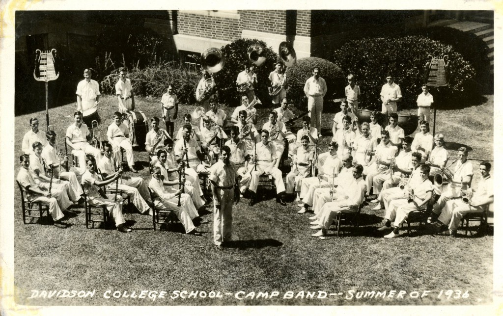 A postcard showing Pfhol leading the summer camp band in 1936.