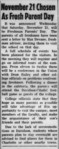 1953 Davidsonian article announcing Freshman Parents Day