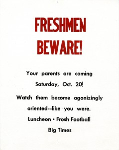 Poster for 1962 Freshman's Parent Day