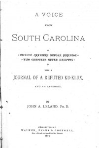 Title page for Voice from South Carolina