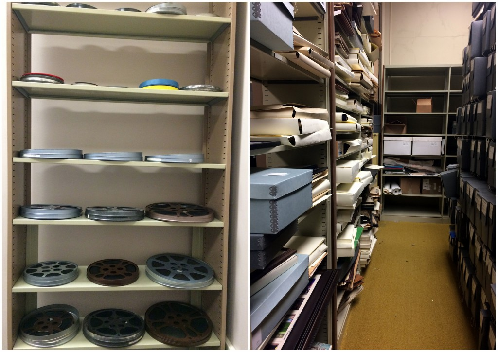 Two collections we know will benefit from a preservation analysis - our film collection (left) and scrapbook collections (right).
