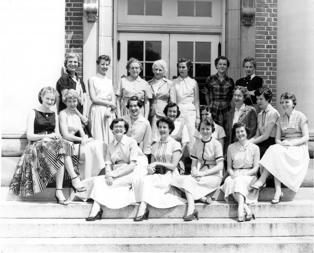 "The caption on this photo reads: ""The original Chambermaids."" Taken in 1955, this picture includes: Kathryn Halliburton, Kathy Wilson, Dela Shore, Mildred Little, Sally Wilson, Nan Lingle, Betty Wally, Peggy Cashion, Page Huckabee, Blanche Parker, A. Wilson, C. Bordeaux, B. Brooks, Joyce Fleagle, H. Allen, Loyce Chaney, Florede Meetze."