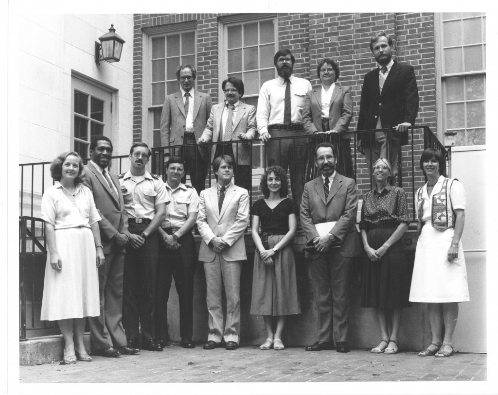 A photo of all new faculty for the 1983-84 academic year - Gail Gibson is on the far left of the front row.