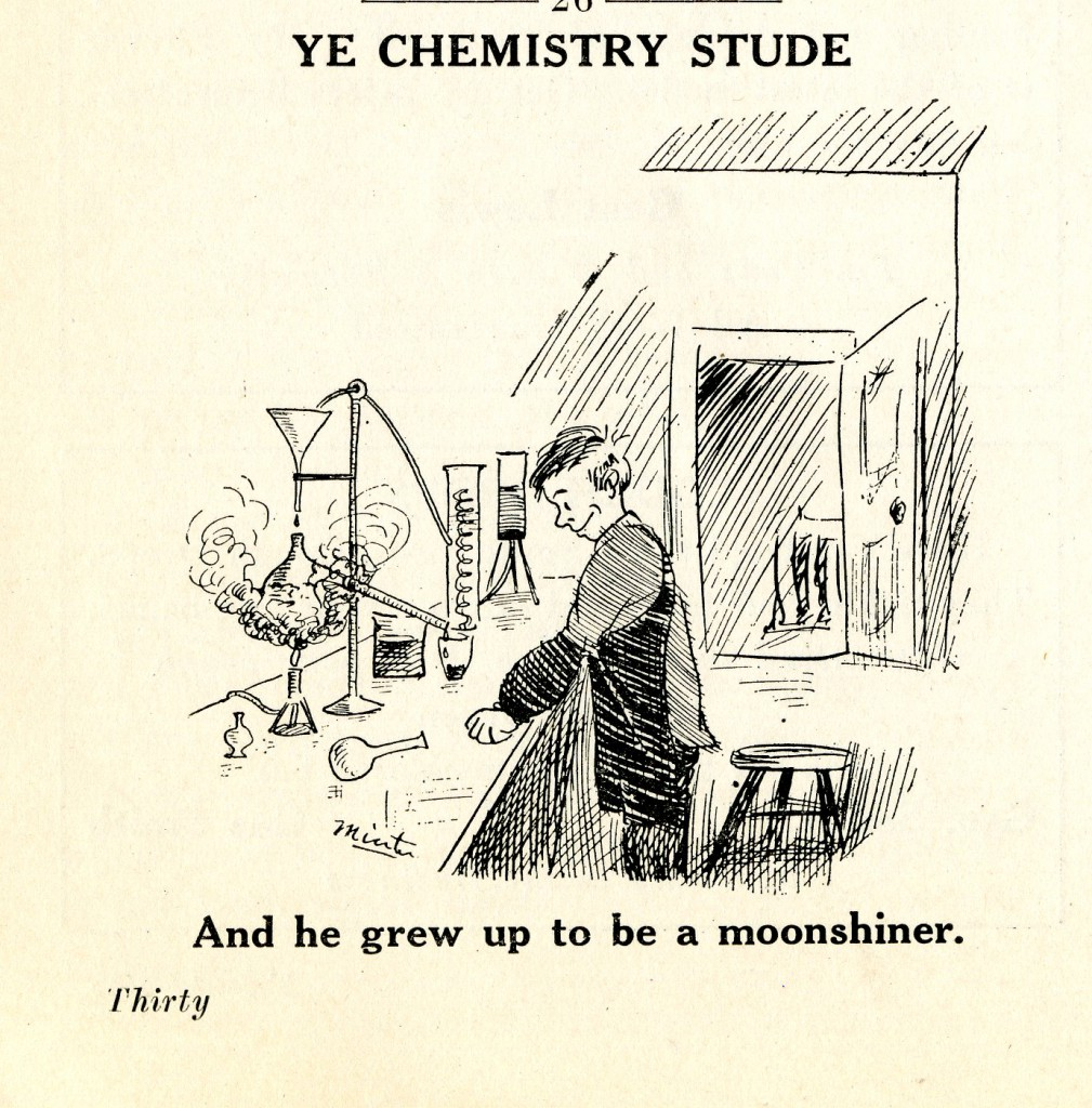This cartoon from the 1925 Sanity Rare pokes fun at a practical life application of chemistry studies - making moonshine.