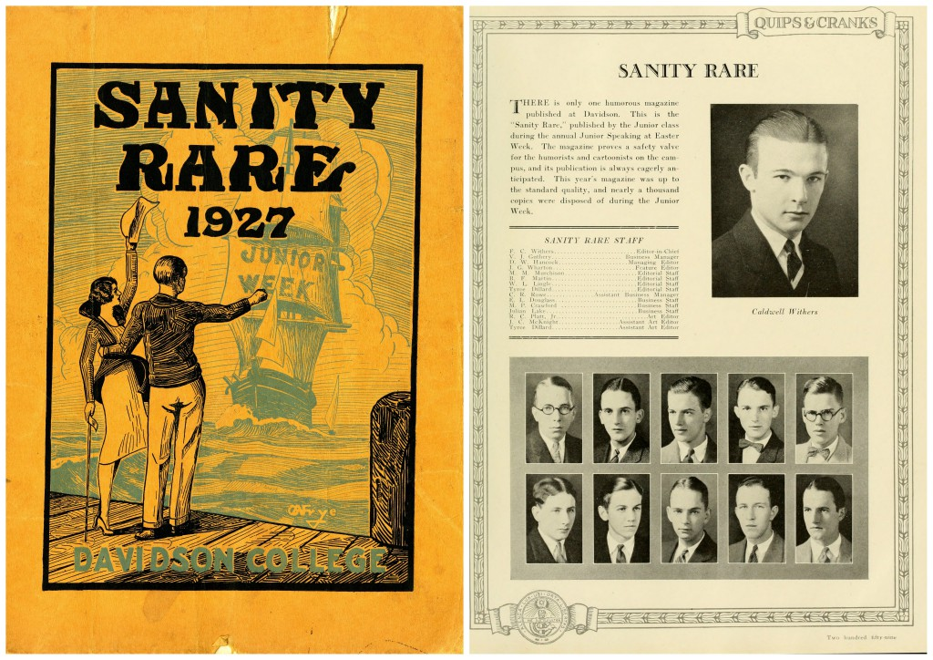 Cover of the 1927 issue of Sanity Rare, and the student activity page describing the magazine and listing its staff in the 1927 Quips and Cranks.