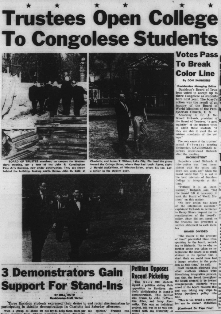 "Front page of the February 17, 1961 Davidsonian. The headline, ""Trustees Open College To Congolese Students"""