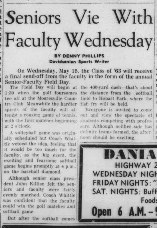 Last report on a Senior-Faculty Day - May 1963
