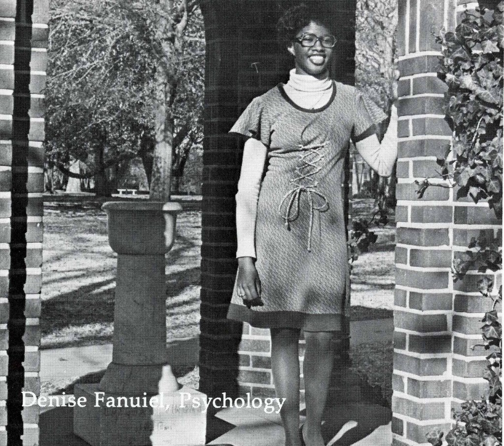 Denise Fanuiel's senior portrait in Quips and Cranks, 1977.