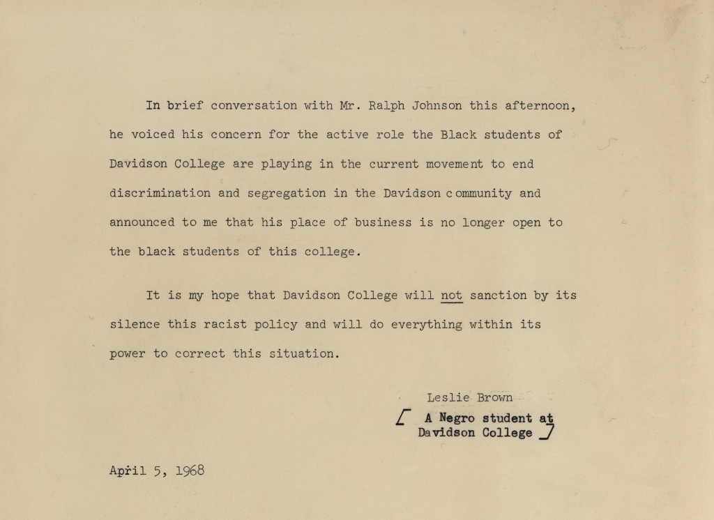 "Leslie Brown's letter asking the College to ""not sanction by its silence this racist policy."""