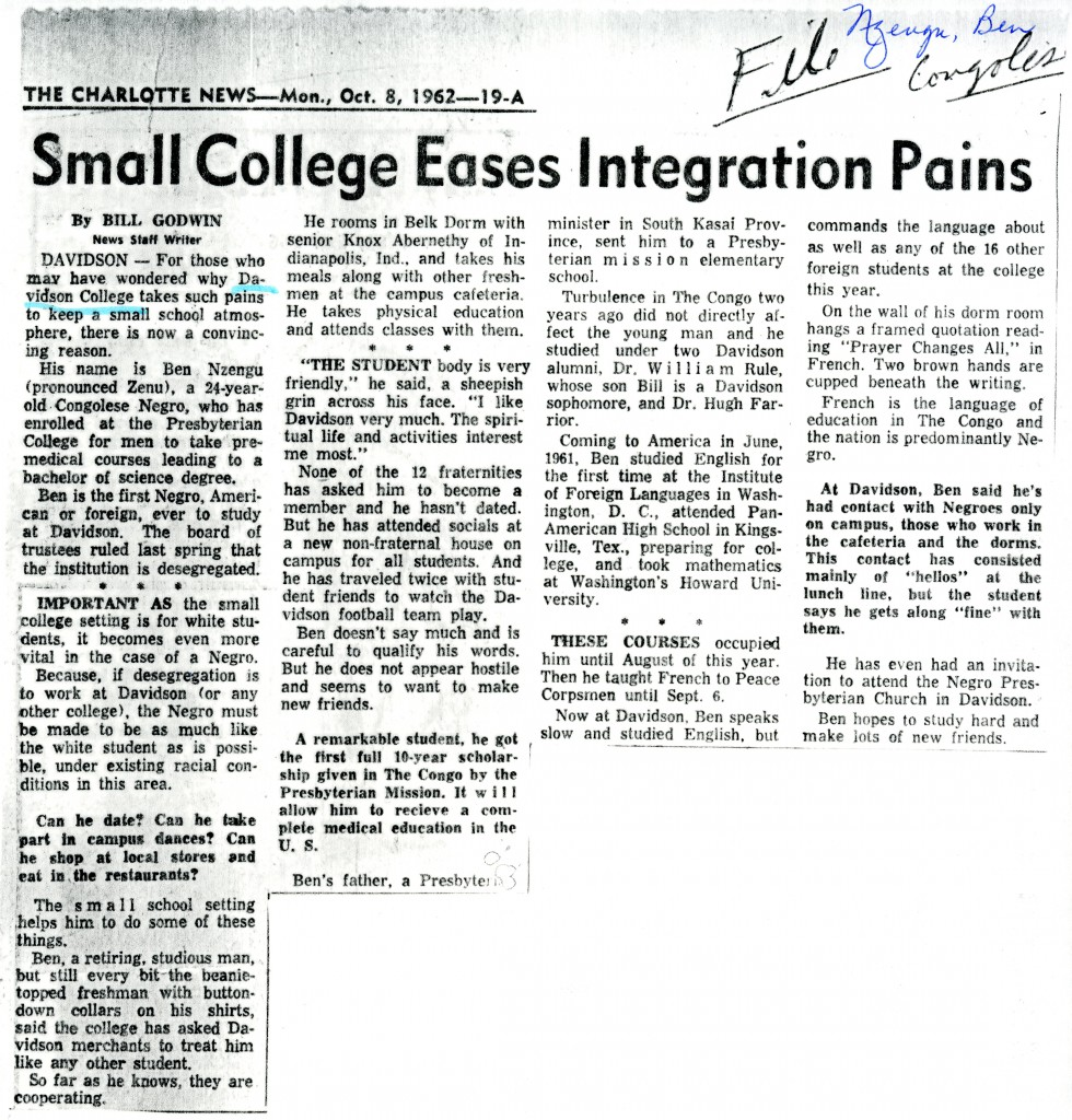 "Bill Godwin's Charlotte News story on Ben Nzengu, October 8, 1962, with the heading, ""Small College Eases Integration Pains"""