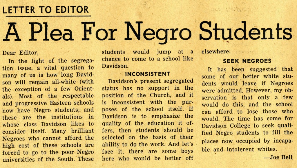 Joe Bell's letter to the editor, January 17, 1958.