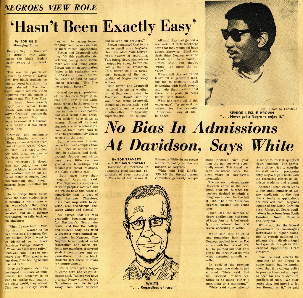 "December 10, 1967 Davidsonian article, ""Negroes View Role"" with the heading, ""'Hasn't Been Exactly Easy'"" and sub-heading, ""No Bias In Admissions At Davidson, Says White"""