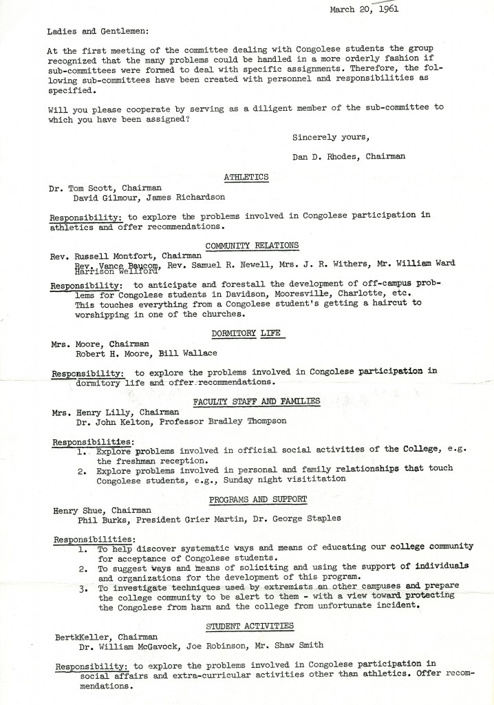 Letter from committee chair Dan Rhodes to the members of the committee detailing each sub-committee's assignments. May 20, 1961.