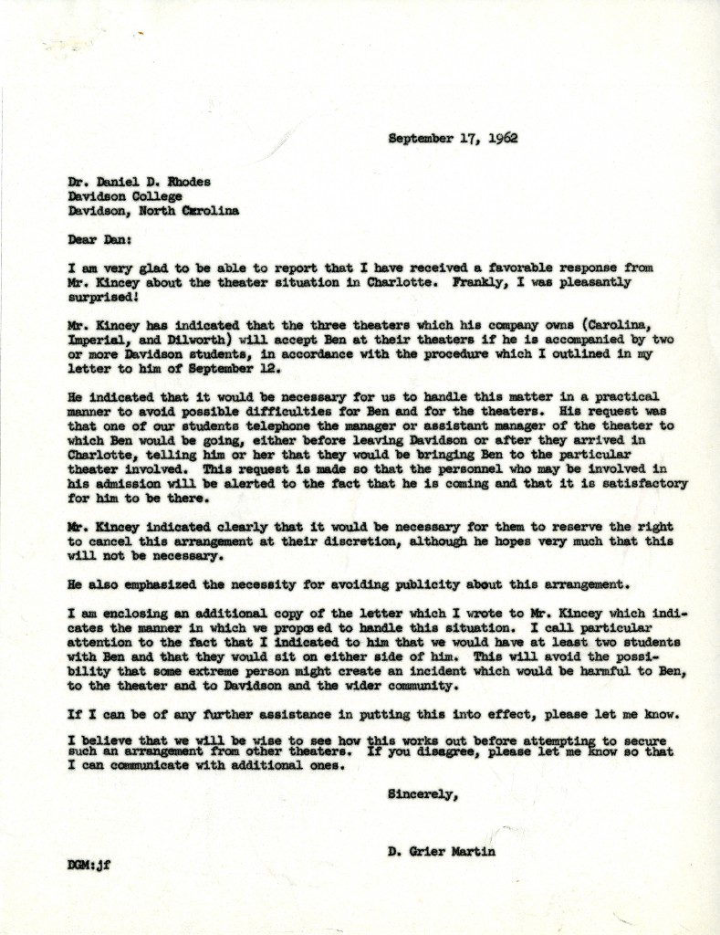 President Martin's letter to Dan Rhodes, communicating his conversation with theater owner Mike Kincey, September 17, 1962.