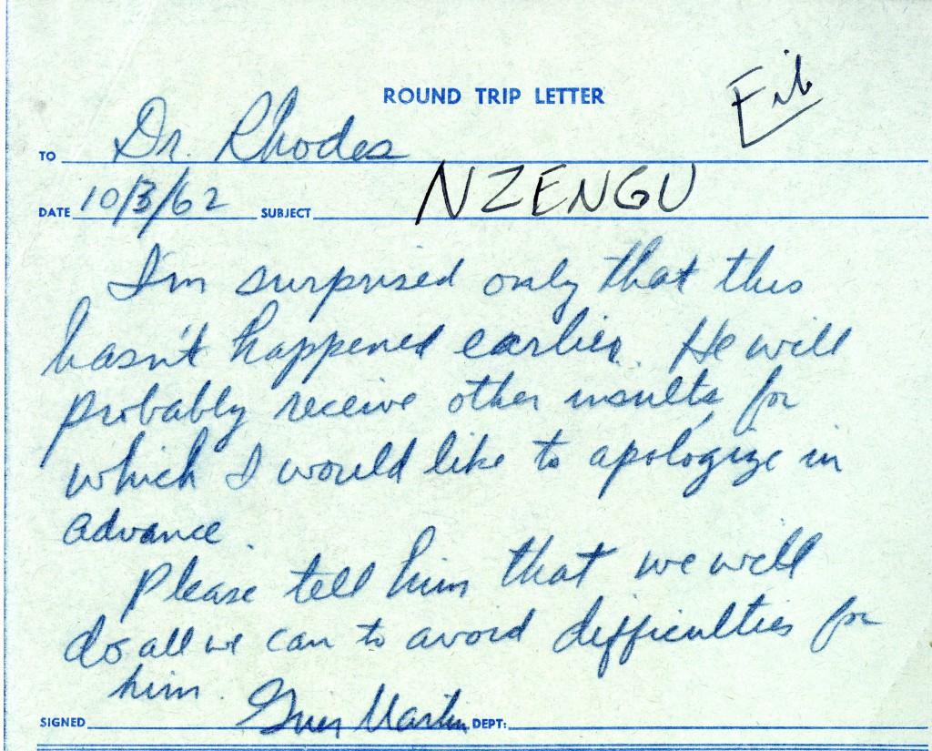 President Martin's response to Dan Rhodes, October 3, 1962.