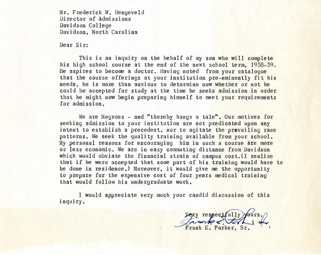 Frank Parker, Sr.'s letter