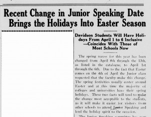 February 4, 1926 Davidsonian article on spring holidays