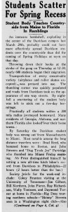 April 10, 1935 Davidsonian article on student's choices for spring break.