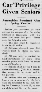 March 27, 1941 announcing new car rule