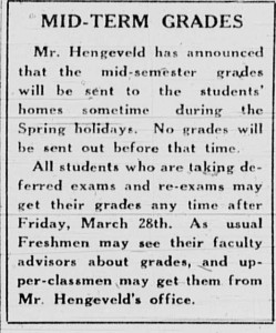 March 27, 1941 announcing grade notices