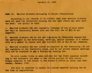 1962 memo to married students