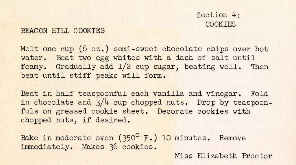 Miss Elizabeth Proctor's recipe for Beacon Hill Cookies.