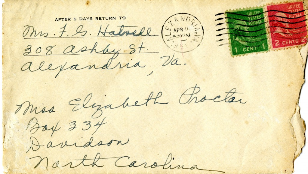 The envelope from the April 1951 letter from Mrs. Proctor to Elizabeth.