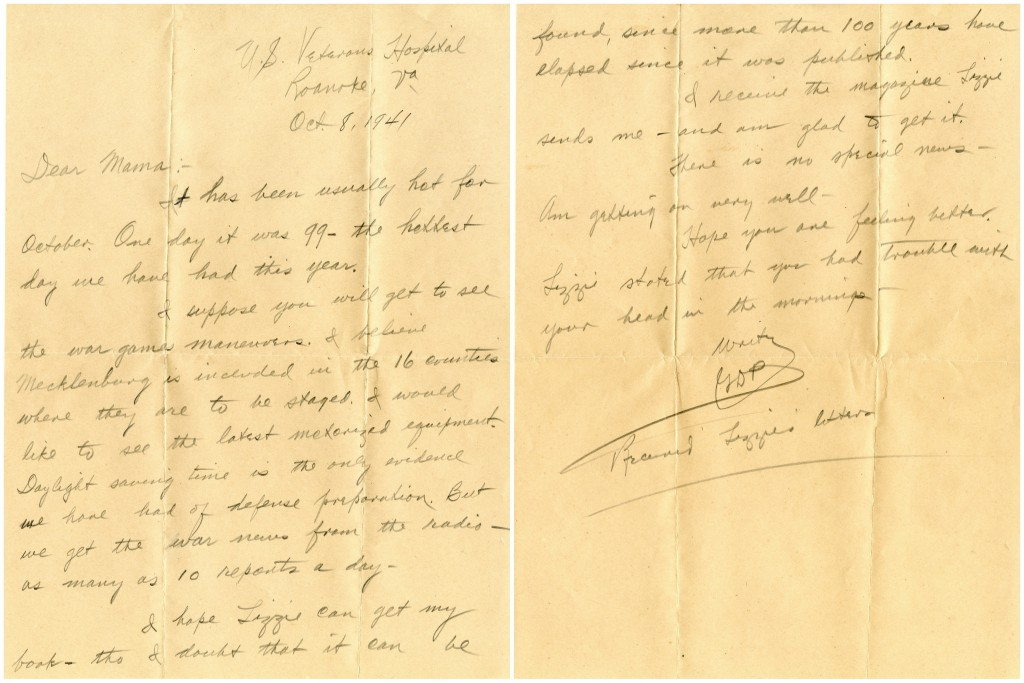 G.D. Proctor's letter to his mother in Davidson, October 1941.