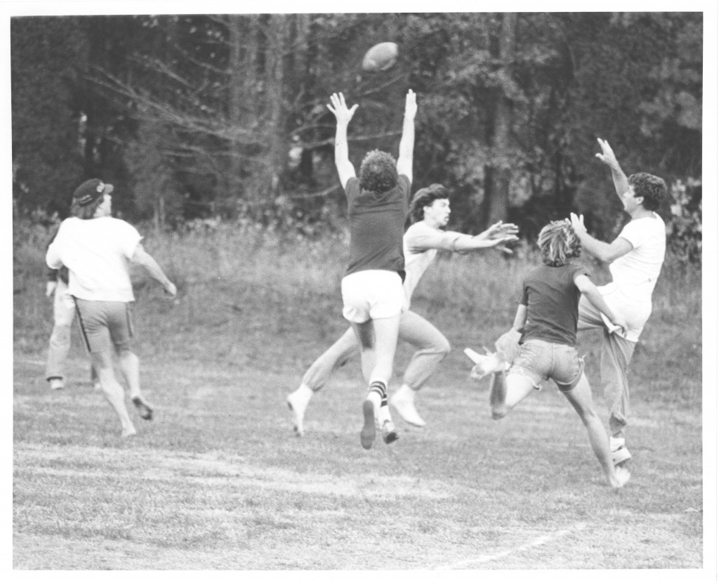 A group of students play flickerball, circa 1980s.