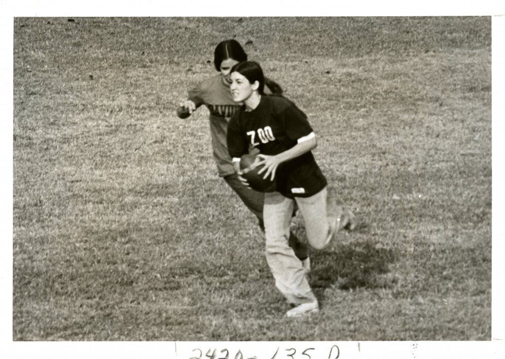 "Fall 1974, the caption on this photo reads: ""Girl's Flickerball - Zoo vs. Thesty."""