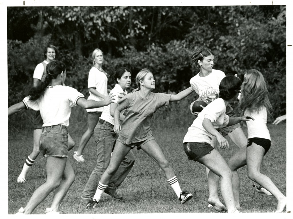 A group of Davidson students play flickerball, fall 1975.