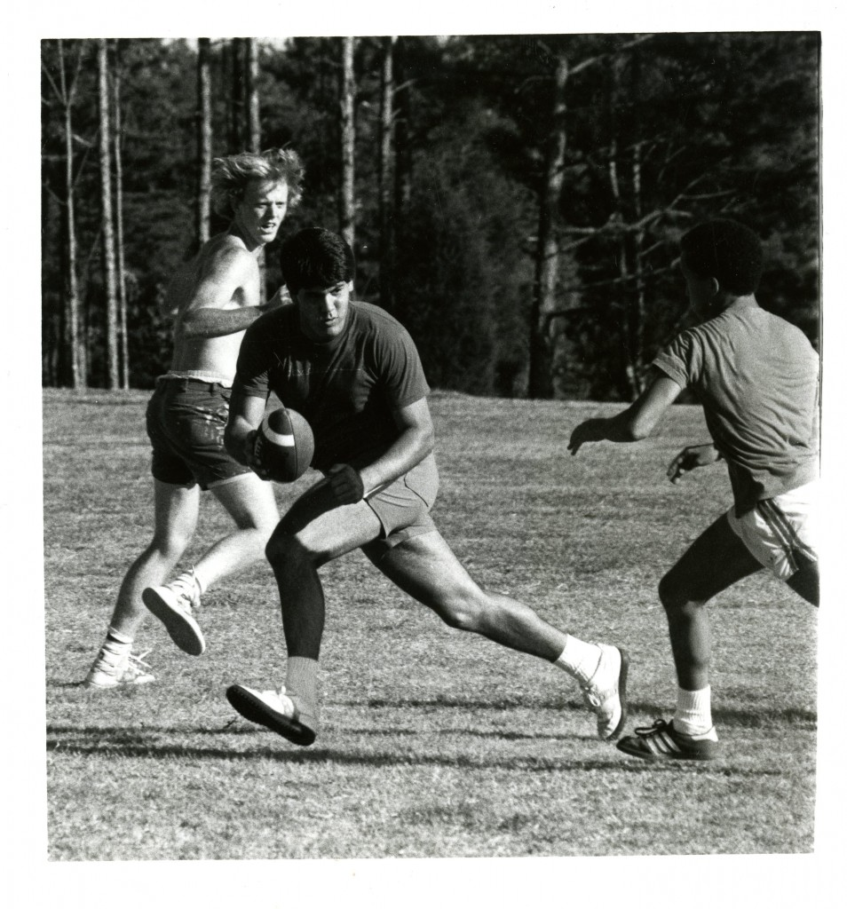 Students practice their flickerball skills, fall 1984.
