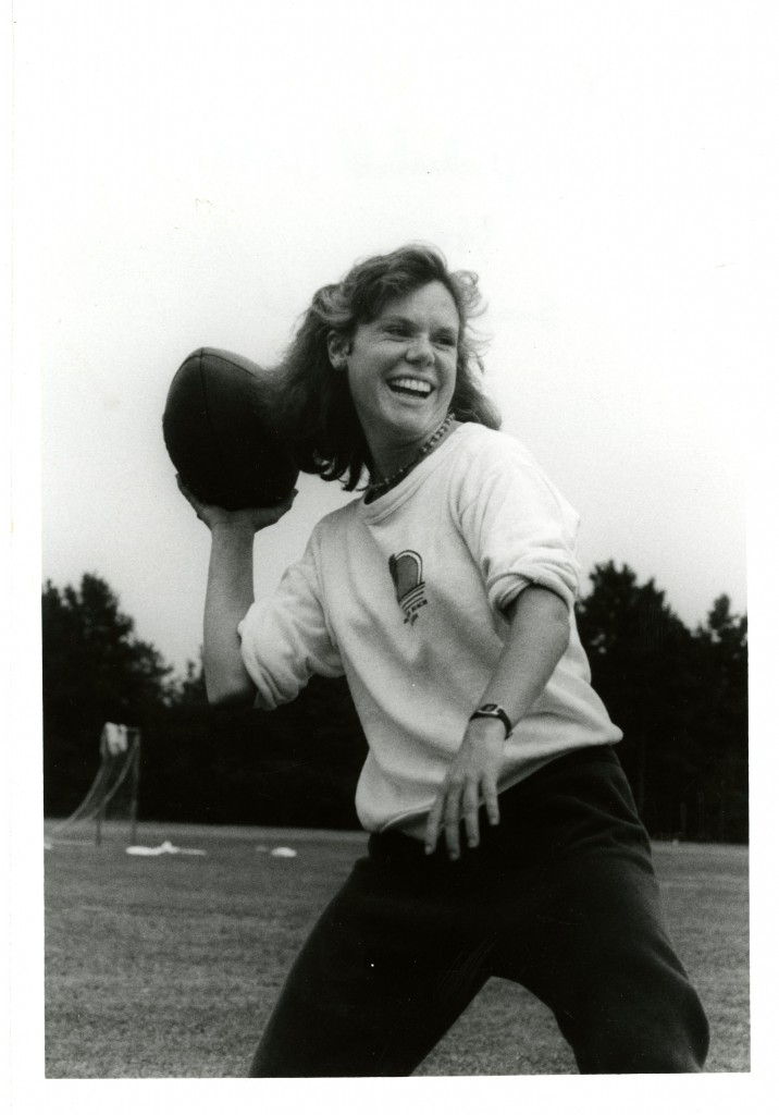 Susan MacDonald (Class of 1986) throws the ball in a flickerball game, circa 1984.