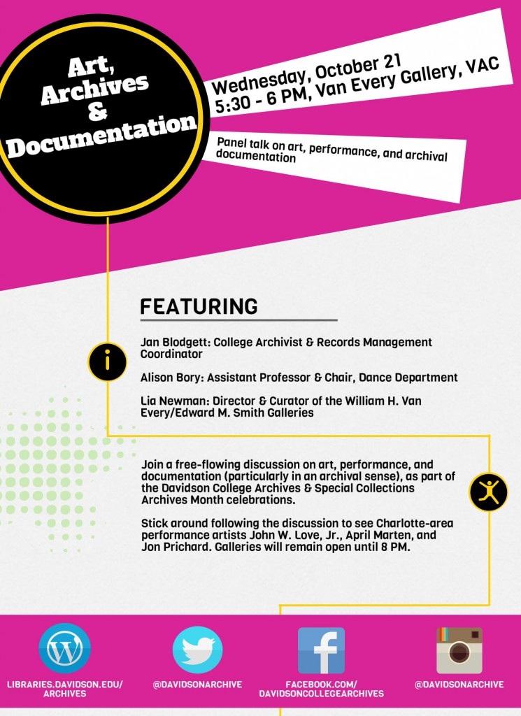 Flyer for Art, Archives & Documentation on October 21st.
