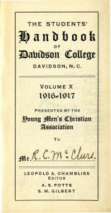 The Y's role on campus started with orientation and the first student handbooks.