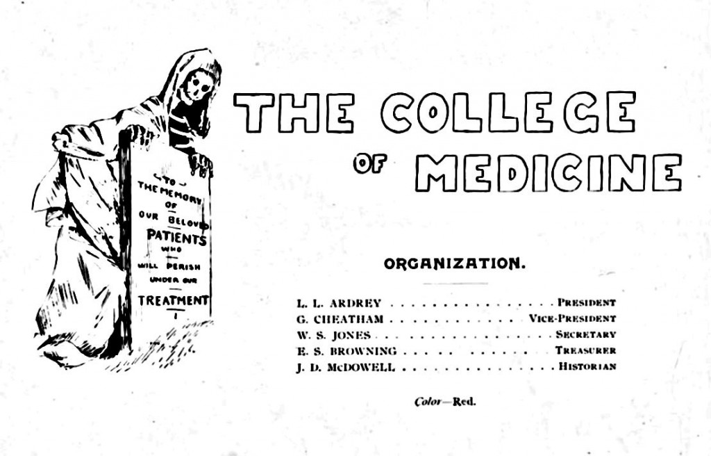 "From the 1895 Quips and Cranks - Caroline's caption: "". The image of the College of Medicine opens the 1895 issue's section on the students that were a part of the college, with a humorous message."""