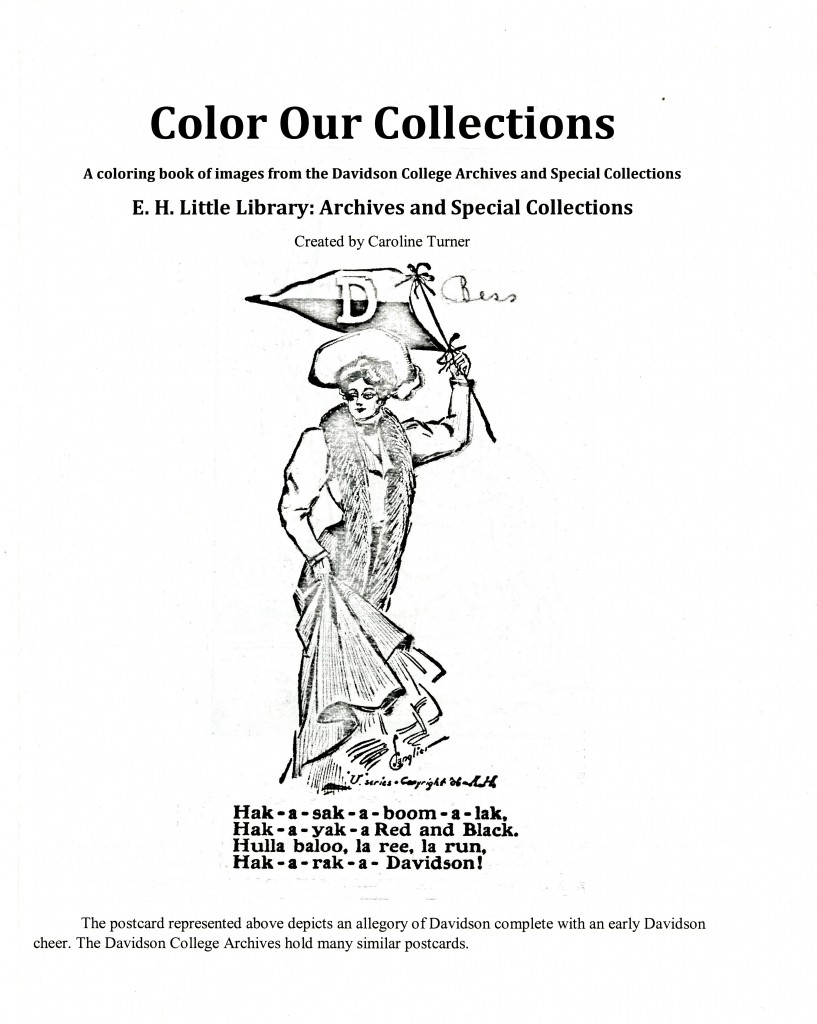 The cover of Color our Collections: A Coloring Book of Images from the Davidson College Archives and Special Collections.