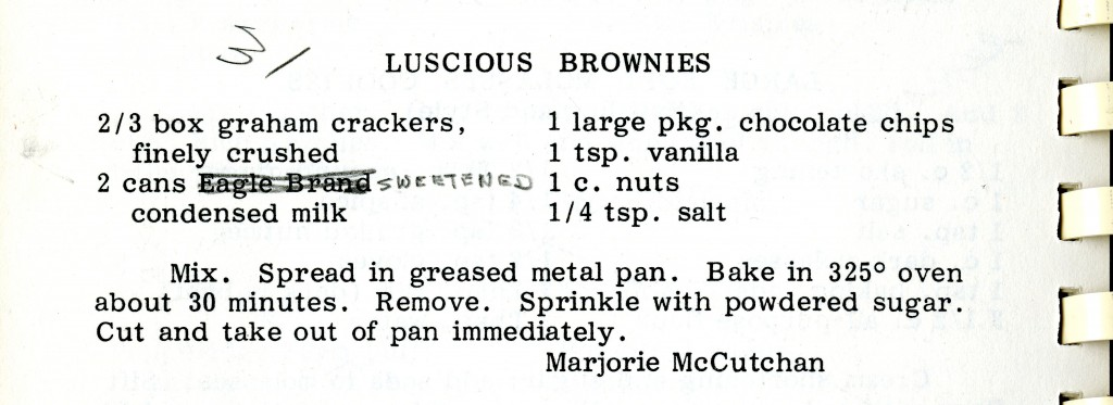 "Marjorie McCutchan's ""Luscious Brownies"" recipe in the 1985"