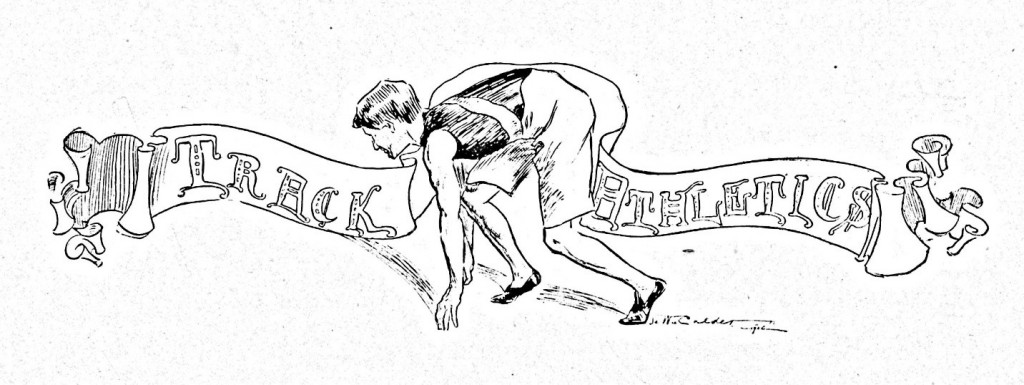 """The image of the page signaling the start to the athletics section featuring a track athlete is from the 1900 edition. The Davidson College Archives houses editions of Quips and Cranks from 1895 to the present."""