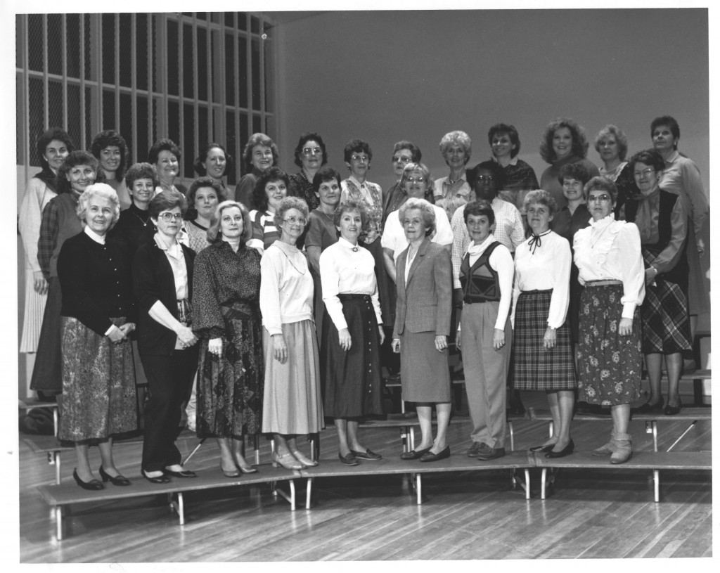 Members of Office Support Staff in Fall 1989. 1st row: (from left to right) Jeanne Mandt, Jane Biggerstaff, Judi Murphy, Ann Callahan, Pat Snow, Mary Wilson, Barbara Mayer, Pat Richart, Mittie Wally; 2nd row: (from left to right) Pat Gardner, Mary Mack Benson, Glenda Erwin, Kristi Mayhew, Cheryl Branz, Jean Martin, Ethel Black, Katrina French, Frances White; 3rd row: (from left to right) Diann Cavin, Gail Hoke, Aileen Vinson, Harriet Kessler, Sara Paige Lewis, Barbara Carmack, Pat Burgess, Frances McCorkle, Jo Archie, Joan Franz, Gail Sloop, Brenda King, Sarah Jackson.