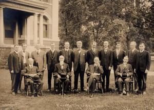 Faculty in 1916. President Martin is seated, second from the right.