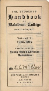 Title page for 1916-17 student handbook, now known as the Wildcat Handbook.