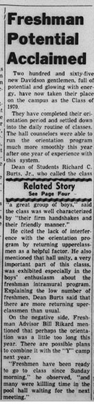 16 September 1966 Davidsonian article praising the new class and raising questions about orientation length.