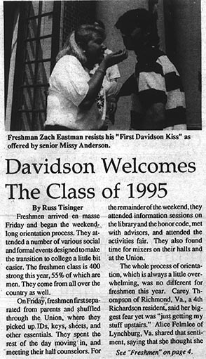 Davidsonian article describing orientation 90s style.